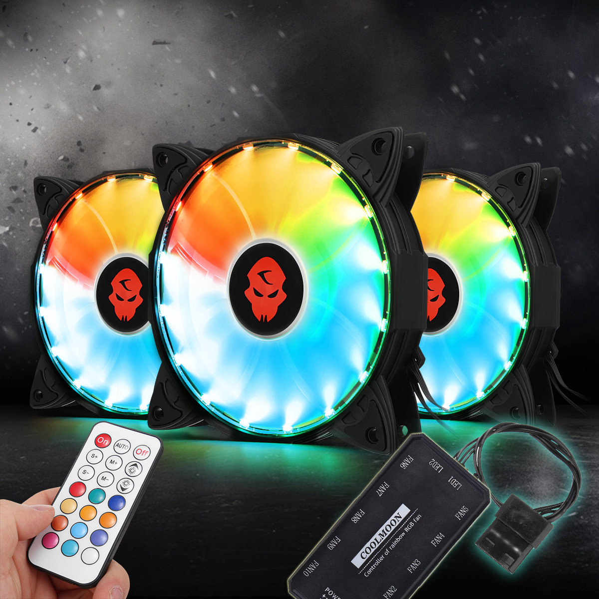30000Hrs 3PCS RGB Adjustable LED Cooling Fan 120mm With Controller Remote For PC