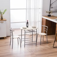 Dining Room Table Set, 3-Piece Wooden Kitchen Dining Room Round Table and Chair Set, Durable Metal Frame and Wood Tabletop Small Dining Table for 2, Breakfast Set with Wine Bottle Rack, Natural, Q5491
