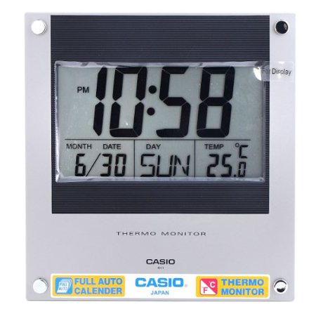Casio Id-11-1 Digital Auto Calendar Thermo Hygrometer Wall and Desk Clock with Indoor Temperature Silver Blue Battery