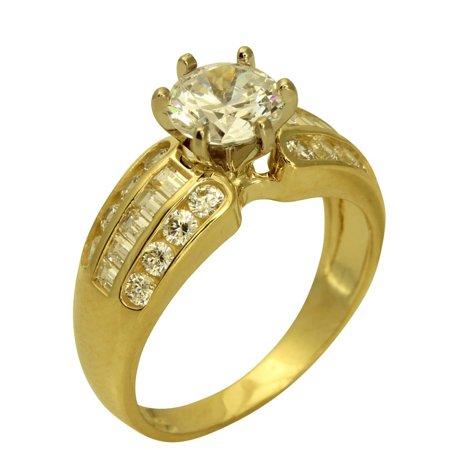 - 2.00 Ct 14K Real Yellow Gold Round Cut with Princess & Round Channel Set Side Stones 3 Lines Rows 6 Prong Cathedral Setting Solitaire Engagement Wedding Propose Promise Ring