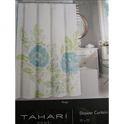 tahari home luxurious fabric floral shower curtain- rouge /aqua and ...