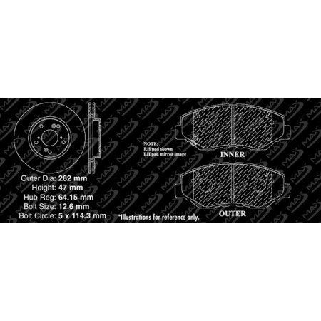 Max Brakes Front Elite Brake Kit [ E-Coated Slotted Drilled Rotors + Ceramic Pads ] KT004881 | Fits: 2007 07 Honda Accord Coupe 4 Cylinder; Non Models Built For Canadian Market - image 7 de 8