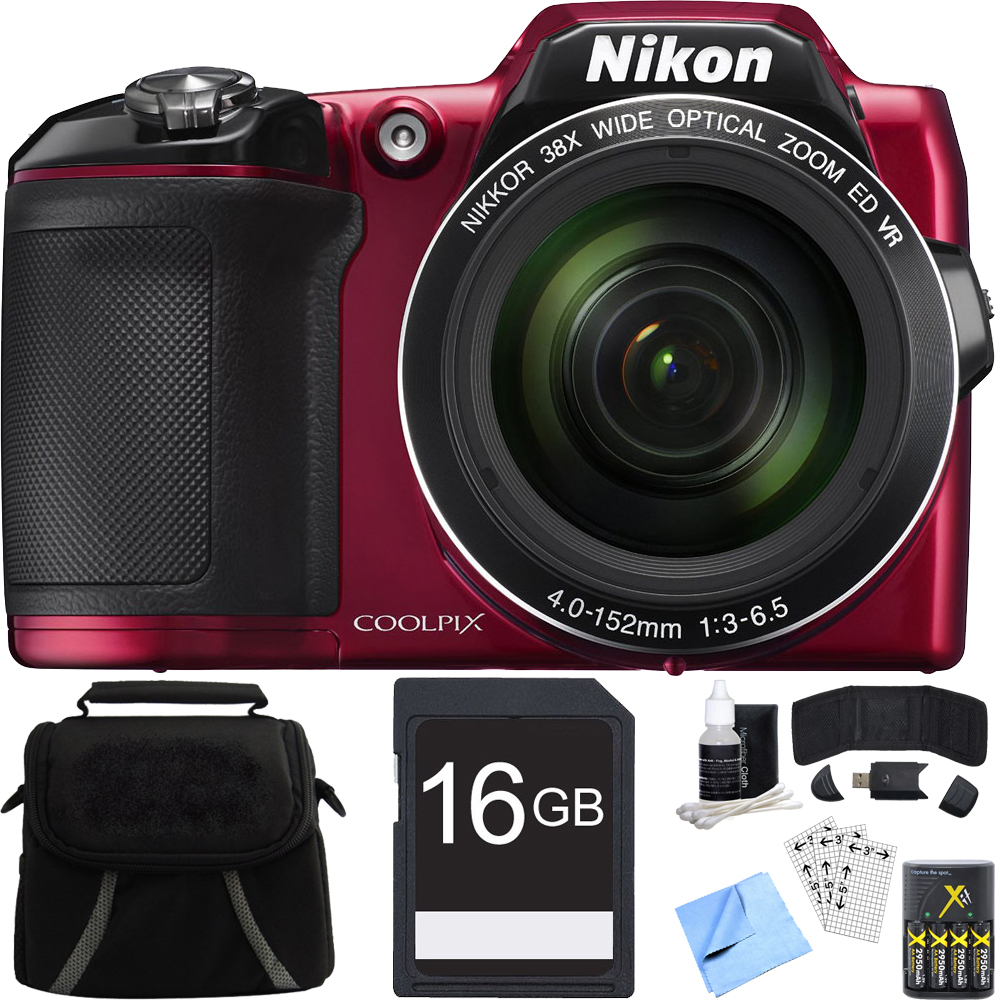 Nikon COOLPIX L840 Digital Camera w/ Zoom Lens Red Refurbished Bundle includes Camera, Bag, 16GB SDHC Memory Card, AA Batteries + Charger, Screen Protectors, Cleaning Kit, Beach Camera Cloth + More