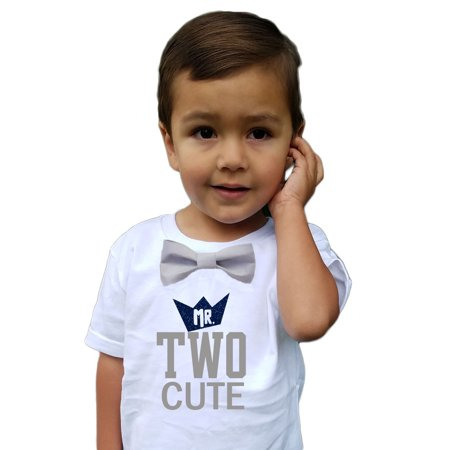 Boys 2nd Birthday Shirt Two Cute Navy And Grey Bow Tie 3T