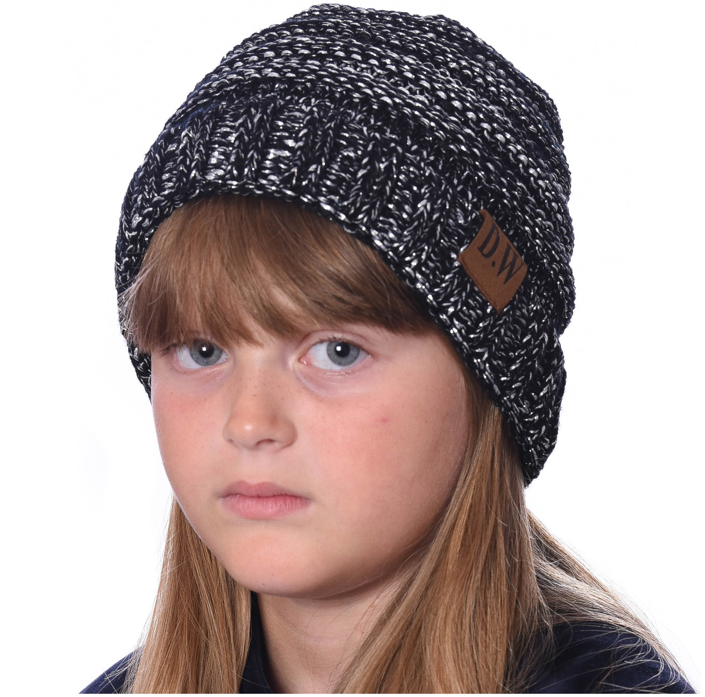 DEBRA WEITZNER - DEBRA WEITZNER Beanie Hats for Kids Unisex Winter Slouchy Beanie  for Girls Boys Toddlers Black   Silver Metallic - Walmart.com be211e06943