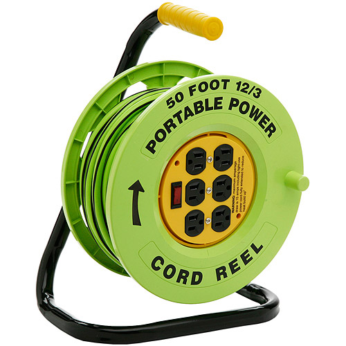 Designers Edge 12/3-Gauge 50' Cord Reel Power Station with 6 Grounded Outlets, Black and Green