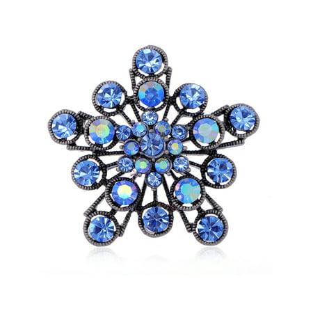 Sapphire Crystal Rhinestone 2 Layer Filigree Flower Starburst Fashion Pin Brooch
