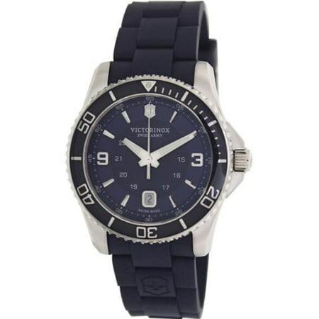 Swiss Army Men's Watch Maverick GS Large Navy Blue Dial Rubber Strap - 241603 Dark Navy Blue Dial