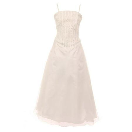 Girls Ivory Bugle Bead Embellished A-Line Junior Bridesmaid Dress