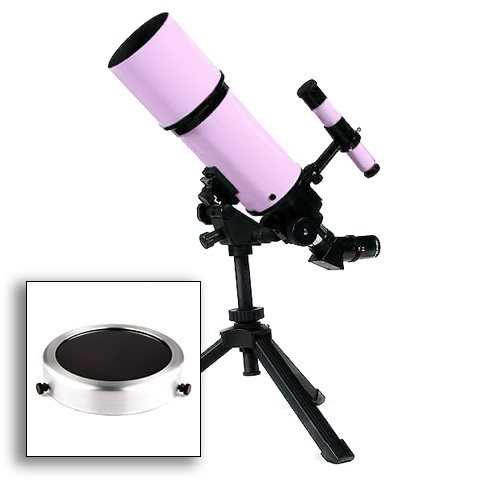 Twinstar EclipseFINDER 80mm Portable Refractor Solar Eclipse Telescope, Pink