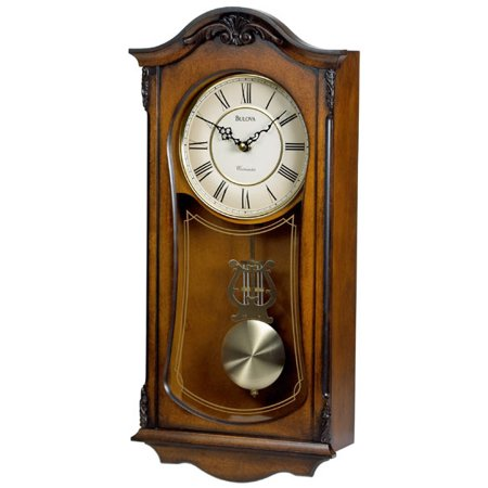 Bulova Cranbrook - Chiming Pendulum Wall Clock - Old World Walnut Finish