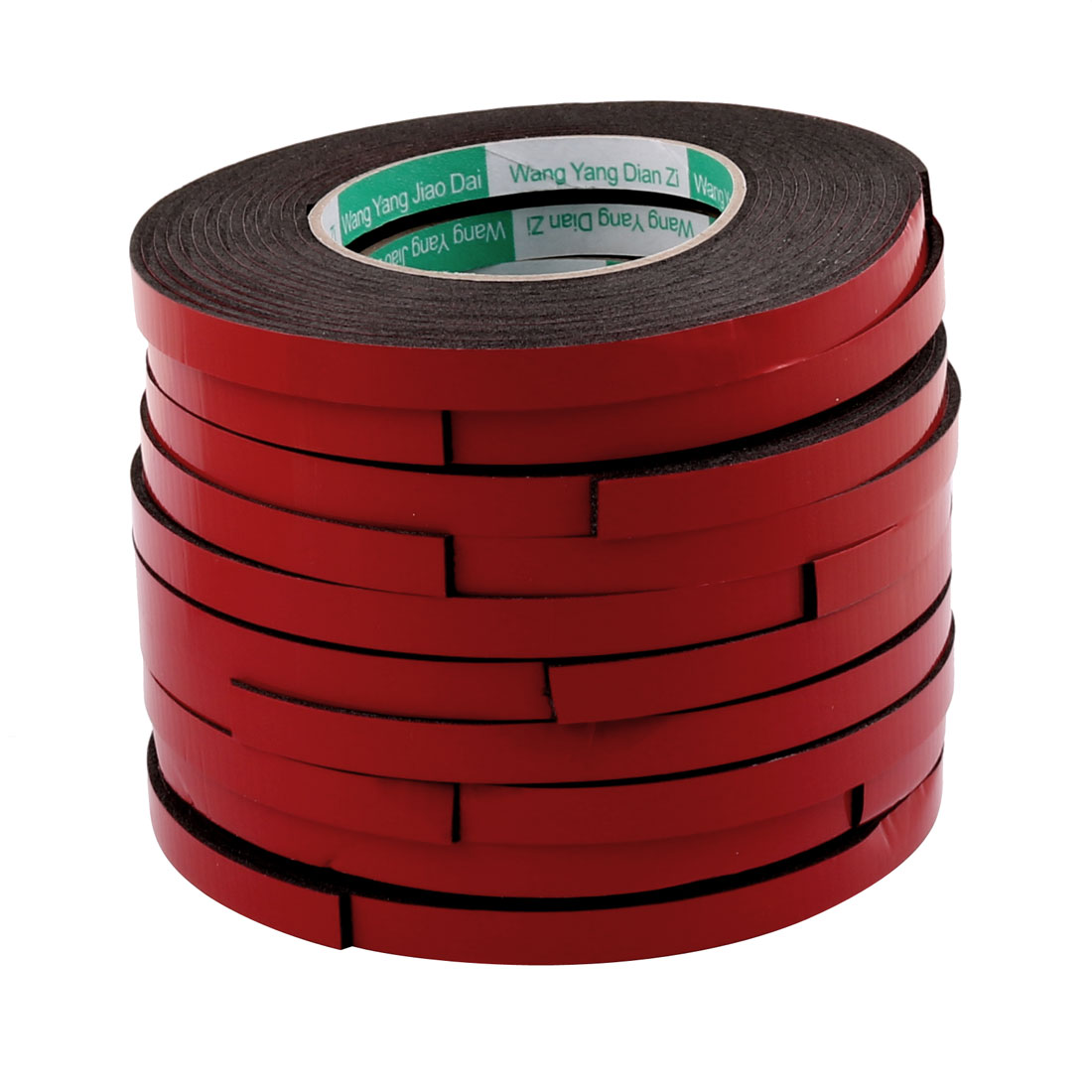 Unique Bargains 10pcs Red Strong Double Sided Adhesive Tape Sponge Tape 10MM Width 5M Length