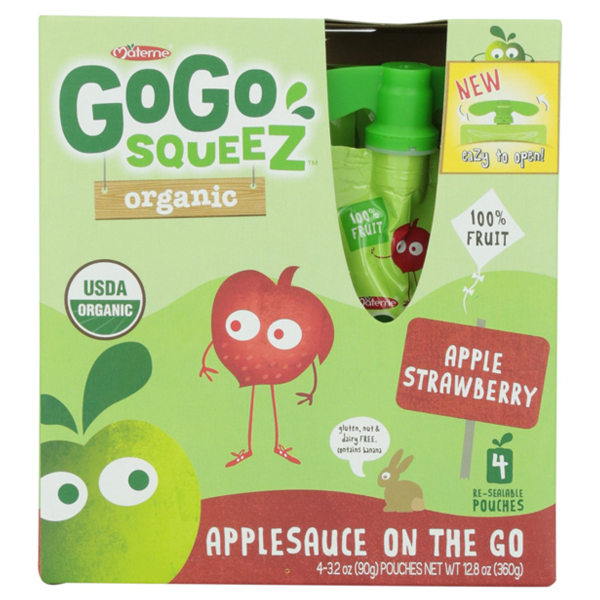GoGo Squeez Organic Apple Strawberry Applesauce 3.2 oz Po...
