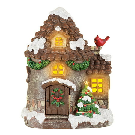 lighted rustic christmas village house decoration
