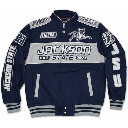 Big Boy Jackson State Tigers S11 Mens Racing Twill Jacket [Navy Blue - (Big 10 Tire Pros & Accessories Jackson Ms)