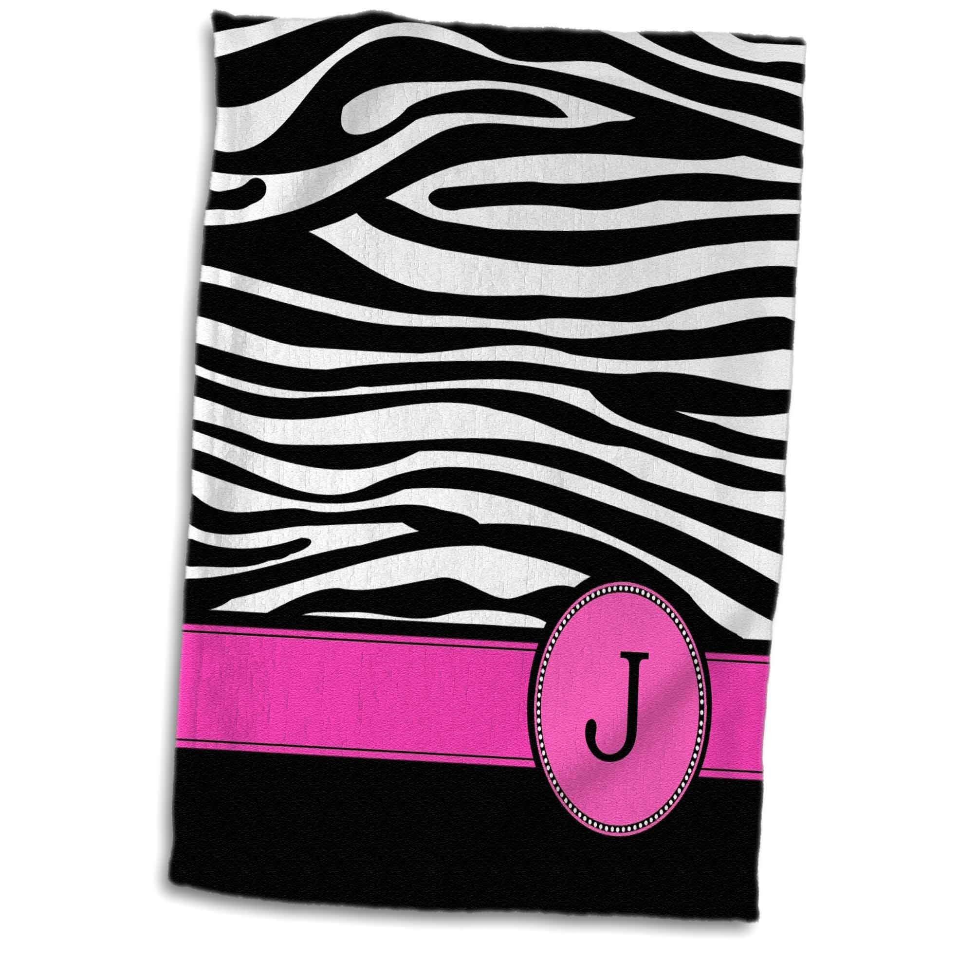 3dRose Letter J monogrammed black and white zebra stripes animal print with hot pink personalized initial - Towel, 15 by 22-inch