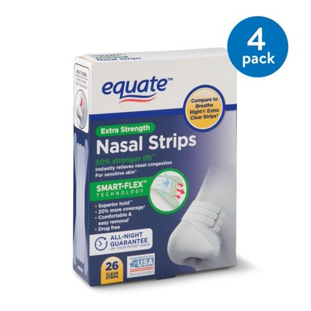 (4 Pack) Equate Smart-Flex Extra Strength Nasal Strips, 26 (Best Nasal Strip For Snoring)