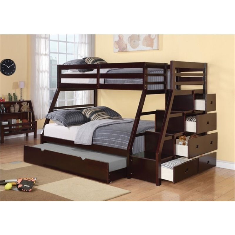 Bowery Hill Twin over Full Storage Bunk Bed with Trundle in Espresso