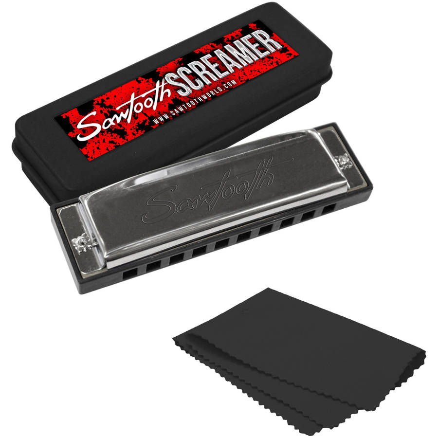 Sawtooth Chrome Plated Screamer Harmonica with Case and Cloth, Key of A