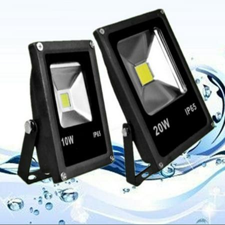 Flax Floods (10W Waterproof Daylight White 6000-6500k LED Flat Flood Light with 3-Plug,American Standard,AC85-265V,Black Color:RGB Size:20.0)
