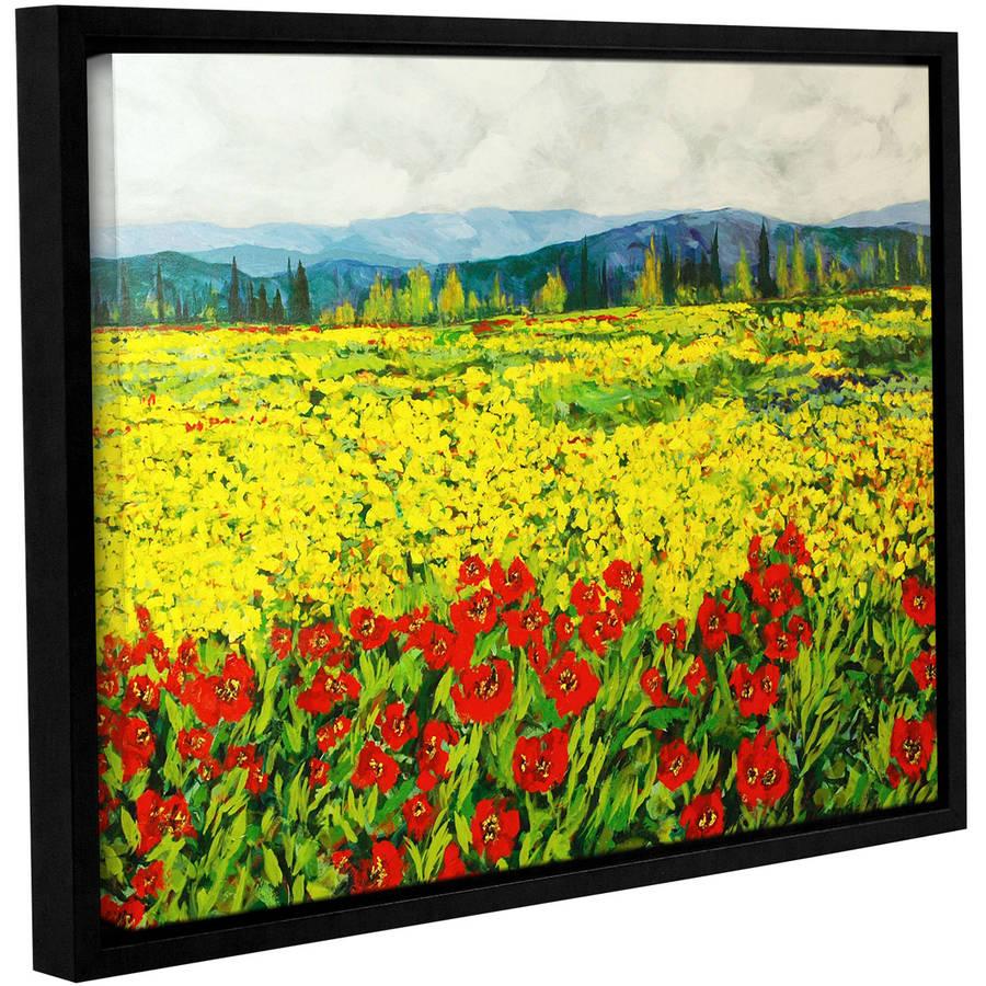 """ArtWall Allan Friedlander """"Zone De Fleurs"""" Gallery-wrapped Floater-framed Canvas"""