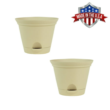 2 Pack of 7 Inch Latte Quartz Plastic Self Watering Flare Flower Pot or Garden Planter