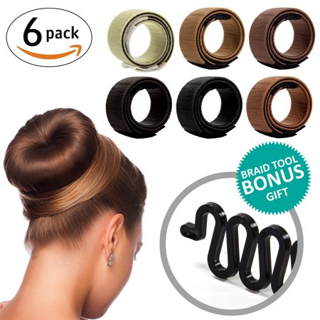KroO Hair Donut Bun Maker Former Foam French Twist Clip DYI Modern Magic Shapers for Women, Teen Girls (6 PACK) + BONUS Fishtail Braid