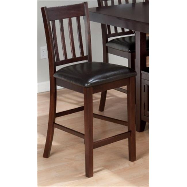 Jofran 933-BS429KD 4 Slat Back Stool with Faux Leather Seat.  Set of 2