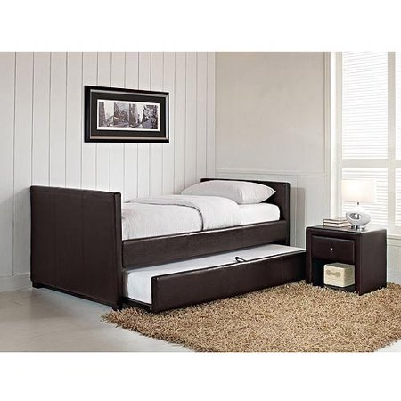 Stratus Twin Daybed and Trundle, Brown Faux Leather - Stratus Twin Daybed And Trundle, Brown Faux Leather - Walmart.com