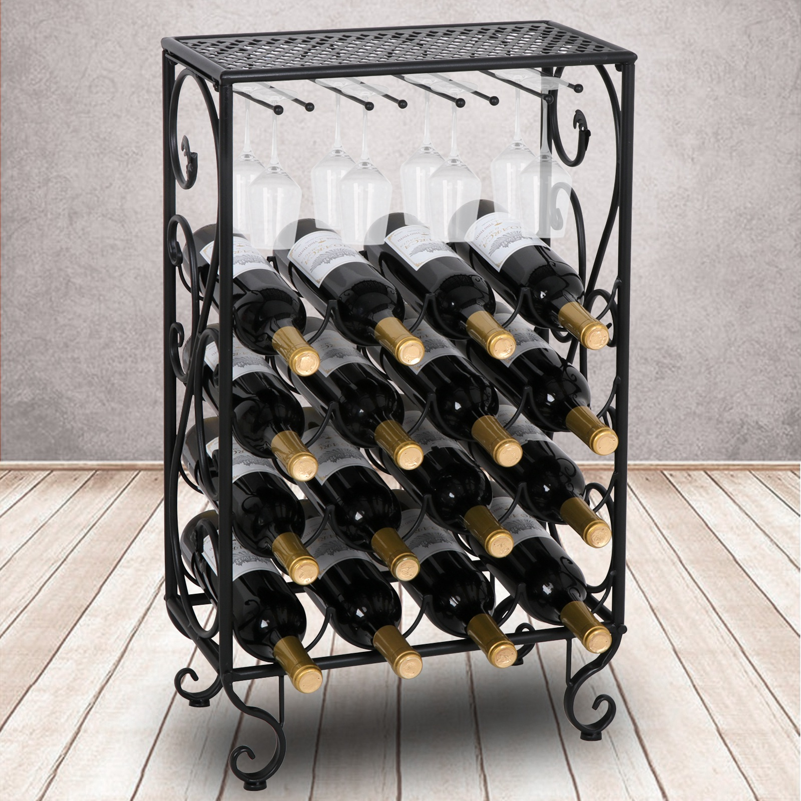 Zeny 16 Bottle Black Finished Table Top Wine Rack with Glass Holder Solid Wrought Iron Floor Free Standing Wine Organizer Rack Cabinet Kitchen