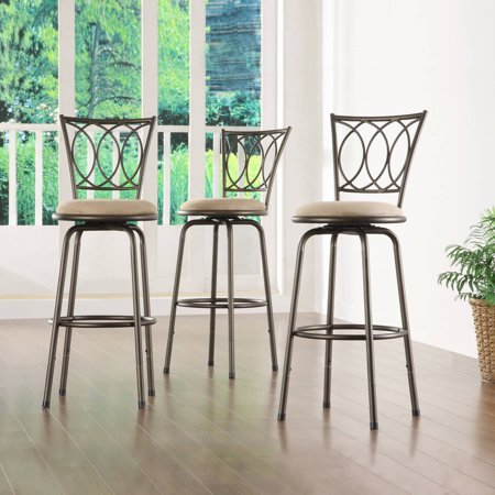 Aidan Scroll Back Adjustable Bar Stool, Set of 3