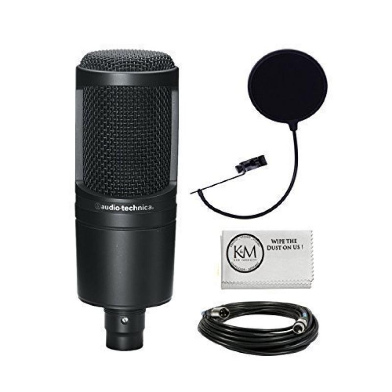 Audio Technica AT2020 Condenser Studio Microphone Bundle with Pop Filter and XLR CIle