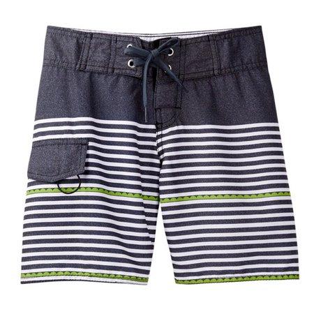 Azul Little Boys Gray Dotted Line Drawstring Swimwear Board Shorts