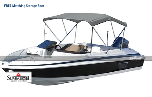 """SUMMERSET by Eevelle Premium Pontoon Bimini 4 Bow Boat Top with Hardware, 54"""" High, Silver by"""