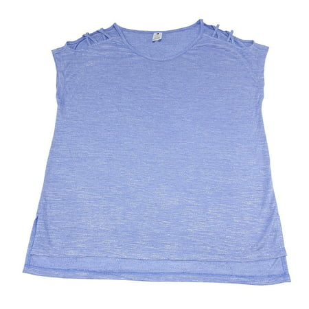 Active Life Womens Size Small Open Shoulder Top, Muscari Heather Blue
