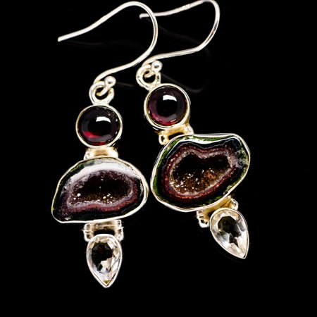 Coconut Geode Druzy, Garnet, White Quartz Earrings 2