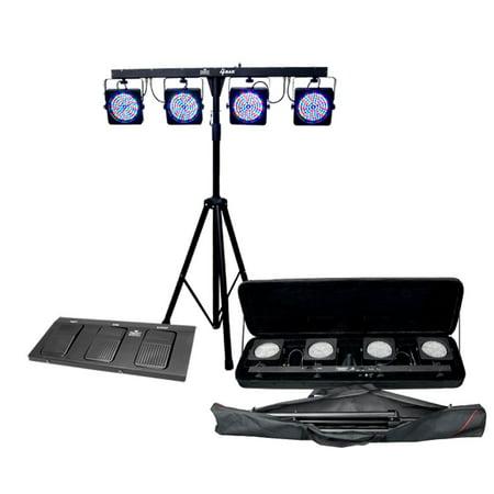 - CHAUVET 4 BAR 4BAR DMX LED Stage Wash Light System w/ Case, Foot Switch & Tripod