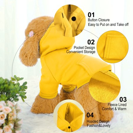 Cotton Dog Sweatshirt Hoody Pet Clothes Fleece Lined Coat w Pocket Yellow XXL - image 1 of 7