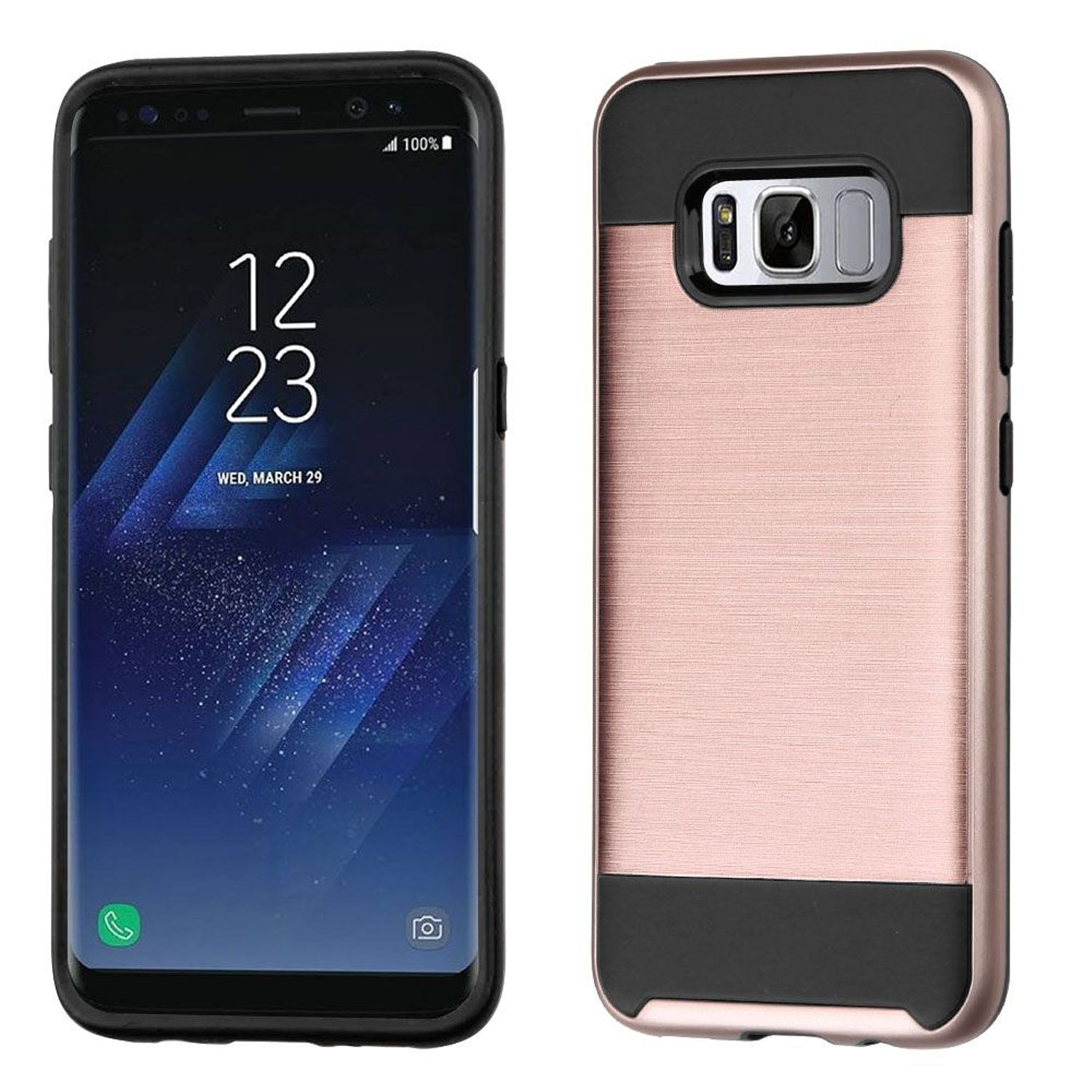 Insten Dual Layer [Shock Absorbing] Hybrid Brushed Hard Plastic/Soft TPU Rubber Case Cover For Samsung Galaxy S8 Plus S8+, Rose Gold/Black