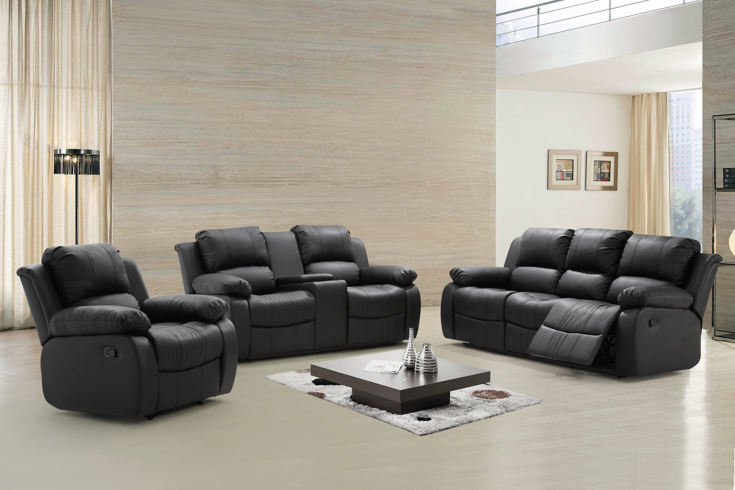 Zoey 3 Pc Black Bonded Leather Living Room Reclining Sofa Set With Tea  Table, Center