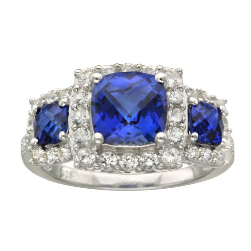 3 68 carat t g w blue and white sapphire ring in sterling