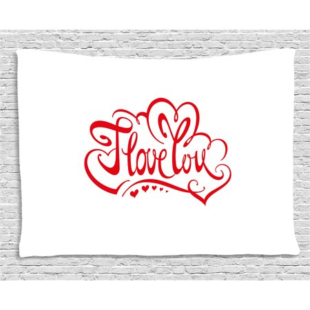 I Love You Tapestry, Calligraphic Inscription of Phrase I Love You in Color Red Decorated with Little Hearts, Wall Hanging for Bedroom Living Room Dorm Decor, 80W X 60L Inches, Red, by Ambesonne