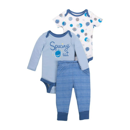 Newborn Baby Boy Bodysuit & Pant 3pc Outfit Set