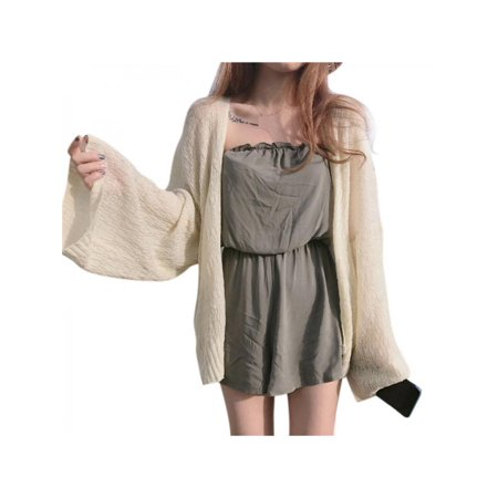 MarinaVida Women's Korean Loose Sunscreen Sexy Knitting Cardigan Top ()