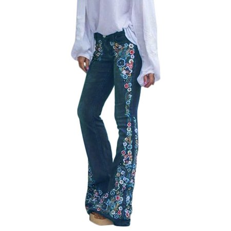 Fashion Denim Flare Pants Women Retro Embroidered Floral Jeans Wide Leg Trousers Lady Casual Bell-Bottoms Flare Pant Female Wide Leg Trouser Jean