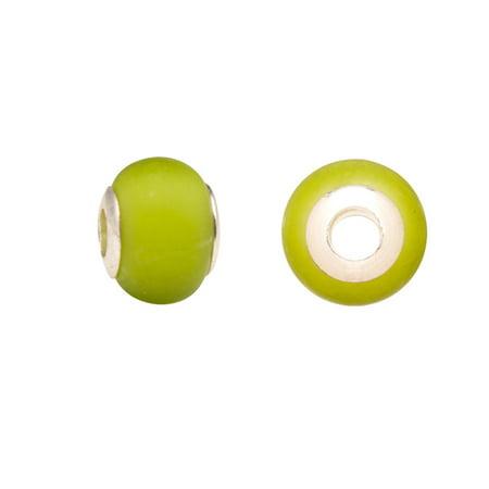 Yellow/Green Opaque Glass Large Hole Beads Murano Lampwork European Glass Crystal Charms Beads Spacers Fit Pandora Troll Chamilia Carlo Biagi Zable Snake Chain Charm Bracelets 11x14mm 4pcs (Yellow Lampwork Glass)