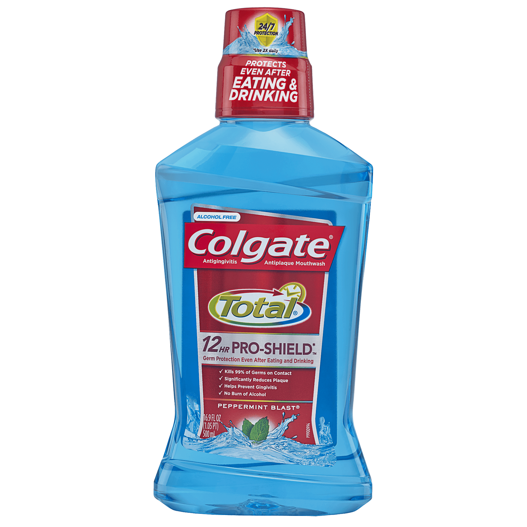 (2 pack) Colgate Total Pro-Shield Mouthwash, Peppermint - 500mL, 16.9 fl oz