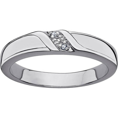 Platinum Plated Silver  Diamond Wedding Band