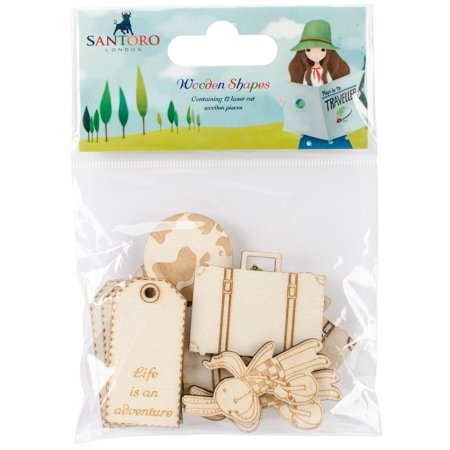 Santoro Kori Kumi Ii Laser-Cut Wooden Shapes 8/Pkg-Roadtrip, 4 Designs/2 Each - image 1 de 1