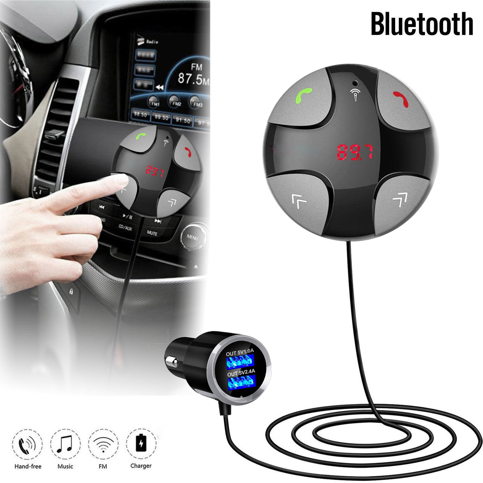 Handsfree Wireless Bluetooth 4.2 FM Transmitter Car Kit Mp3 Player with Dual USB Charger